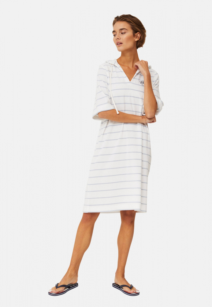 Bilde av Lexington Petra Terry Dress offwhite/light blue stripe